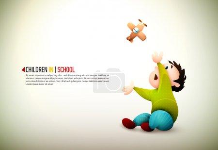 Illustration pour Des enfants heureux. Illustration vectorielle détaillée avec espace pour le texte. Tous les calques nommés en conséquence - image libre de droit