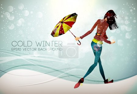 Winter Background. Young Woman hiding from Rain with Umbrella