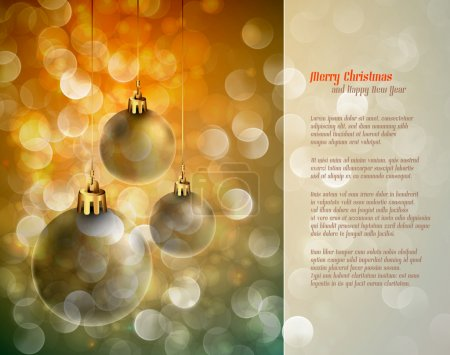 Christmas Background with Shiny Globes and Sparkling Lights