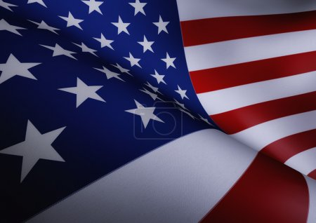 American Flag Waving Close Up Illustration
