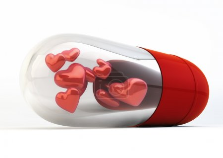 Red Love Pills inside capsule 3d Illustration isolated on white