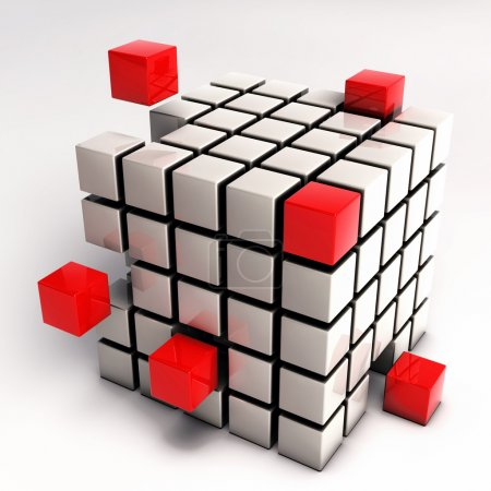 Abstract Cube Illustration - Red Cubes Separating from Single Cu