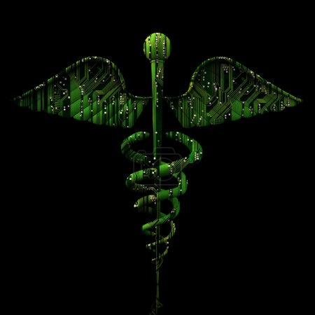 Photo for Digital Medical Concept - Caduceus Shaped Electronic Circuit on reflective black background - Royalty Free Image