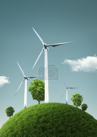 Wind Turbines on green fields and shiny blue skies - Green Ener