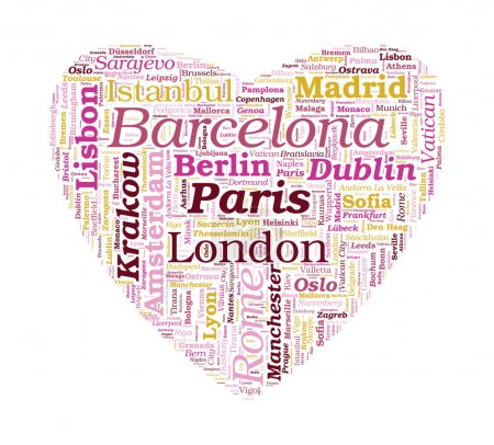 Love Shaped European Cities Vector Word Cloud on white backgroun