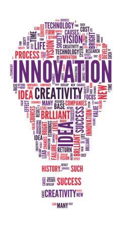 Innovation Concept Bulb shaped word cloud