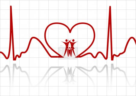 abstract ecg with family vector