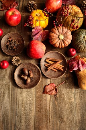 Pumpkins,apples and spices