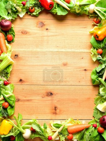 Frame of vegetables for salad