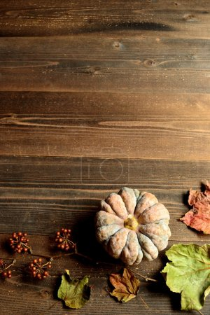 Pumpkin with fall leaves on wood background