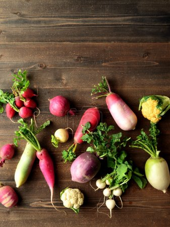 Colorful spring root vegetables with cauliflowers