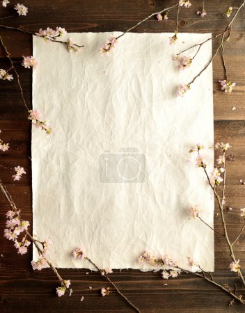 Cherry blossoms on beautiful paper.frame