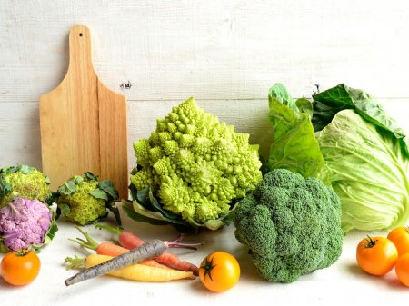 Cauliflower,broccoli and cutting board