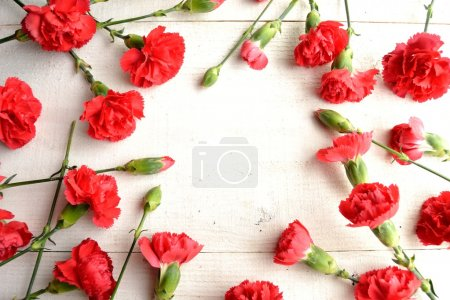 Red carnations on white wooden background