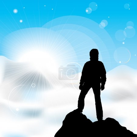 Illustration for A silhouette of man staying on a top of a mountain and sun rays - Royalty Free Image