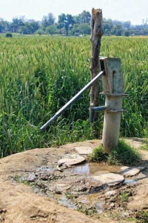 Photo pour Paysage rural avec pompe à eau et gazon - image libre de droit