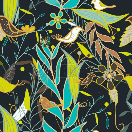 Illustration for Seamless vector texture with birds and plants - Royalty Free Image