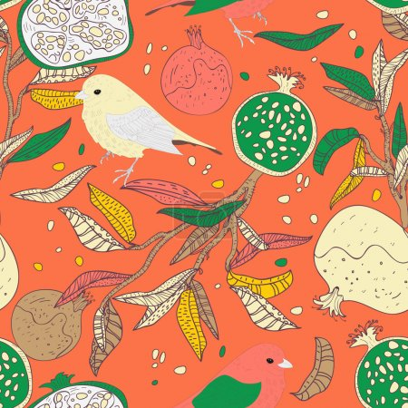 Photo for Seamless vector pattern with drawing birds and fruits - Royalty Free Image