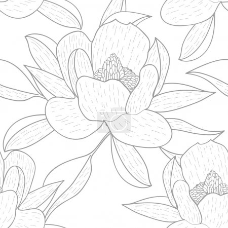 Photo for Seamless vector background with drawing flowers and leafs - Royalty Free Image