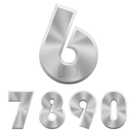 Illustration pour Illustration vectorielle des nombres métalliques de chrome. Partie 2 . - image libre de droit