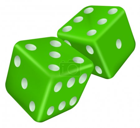 Illustration for Vector illustration of two green dice - Royalty Free Image