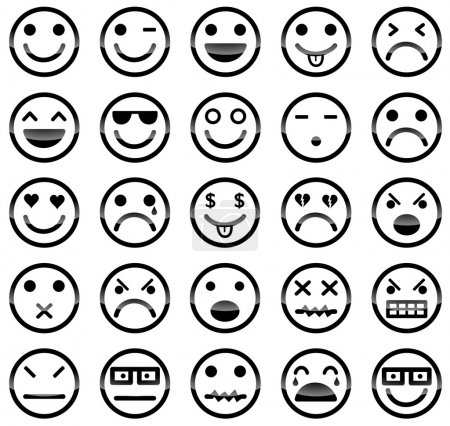 Illustration for Vector icons of smiley faces - Royalty Free Image