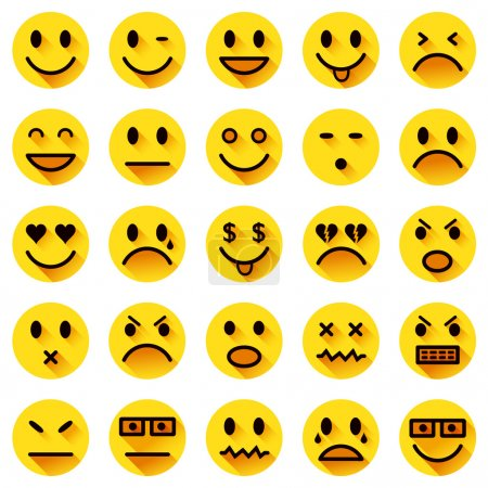 Illustration for Vector icons of yellow smiley faces with long shadows - Royalty Free Image