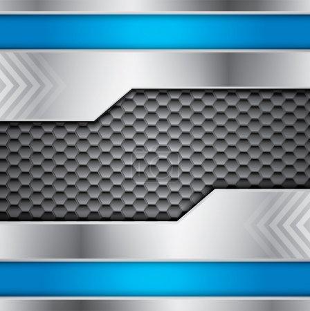 Illustration pour Fond vectoriel métallique abstrait avec des couleurs acier et bleu et place pour le texte - image libre de droit