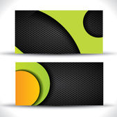 Modern vector business card - green orange and black colors