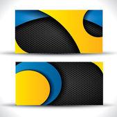 Modern vector business card - blue orange and black colors