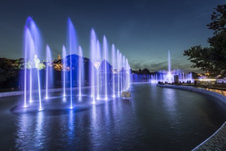 Beautiful blue fountains at night
