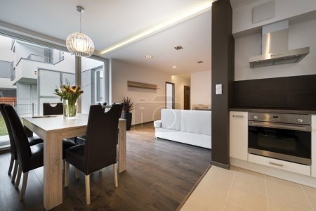 Photo for Modern interior design with kitchen and living room - Royalty Free Image