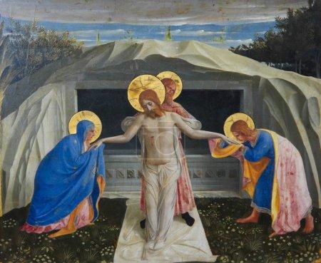 Photo pour MUNICH, ALLEMAGNE - 22 JUIN : Jésus Christ ressuscite du tombeau. Peinture célèbre créée par Fra Angelico (1387-1455) à Munich, Allemagne. Cette peinture a plus de 550 ans et dans le domaine public, aucune libération de propriété n'est requise . - image libre de droit