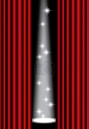 Illustration pour Rideau de théâtre rouge avec projecteur sur scène, EPS10 - image libre de droit