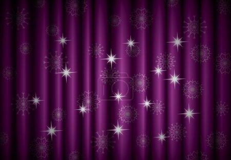 Illustration pour Fond de rideau violet Noël avec flocons de neige, EPS10 - image libre de droit