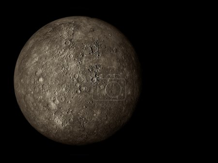 3D render the planet Mercury on a black background...