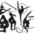 Silhouettes of gymnasts vector...