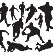 Rugby players silhouette...