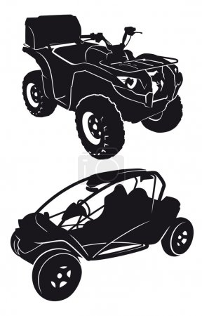 buggies and quads vector silhouettes