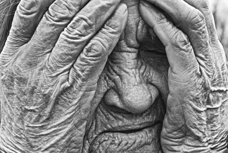 Photo for Senior woman is cry, sepia, closeup view - Royalty Free Image