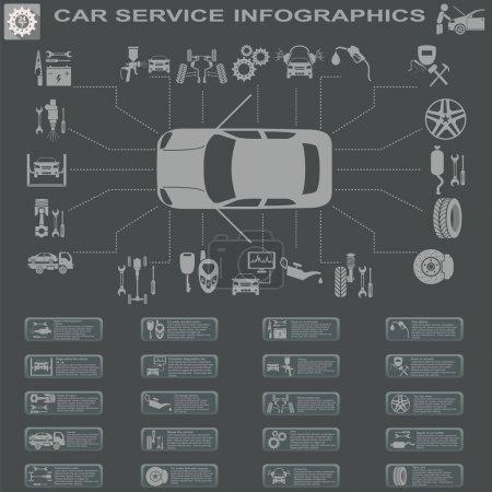 Photo pour Service de voiture, Infographies de réparation. Illustration vectorielle - image libre de droit
