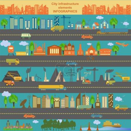 Photo pour Ensemble d'éléments de la ville moderne pour créer vos propres cartes de la ville. Infographie. Illustration vectorielle - image libre de droit