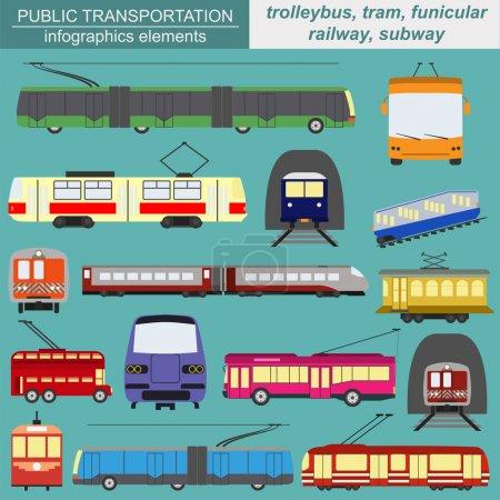 Illustration for Public transportation icon infographics. Tram, trolleybus, subway. Vector illustration - Royalty Free Image