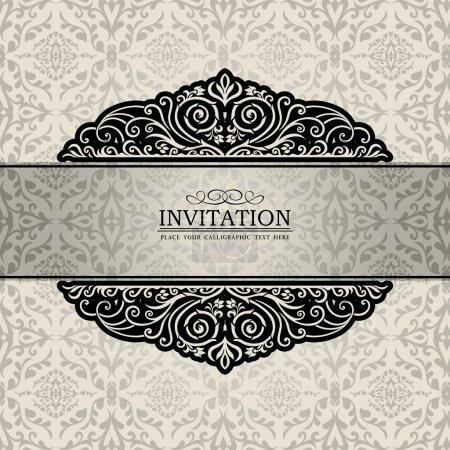 Photo pour Vintage de luxe, cadre en argent, bannière ornementale créative ; damassé, floral, ornements graphiques, carte d'invitation, antique, livret de style baroque, modèle pour - image libre de droit