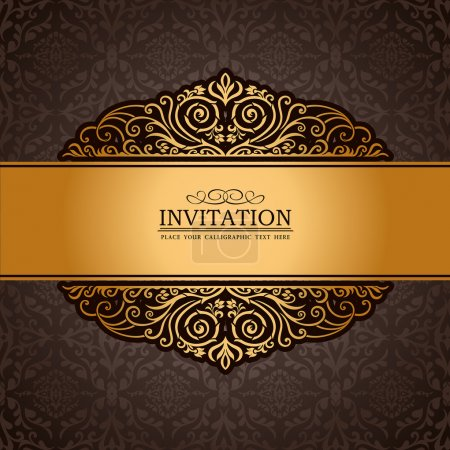 Abstract brown background, vintage, antique gold frame