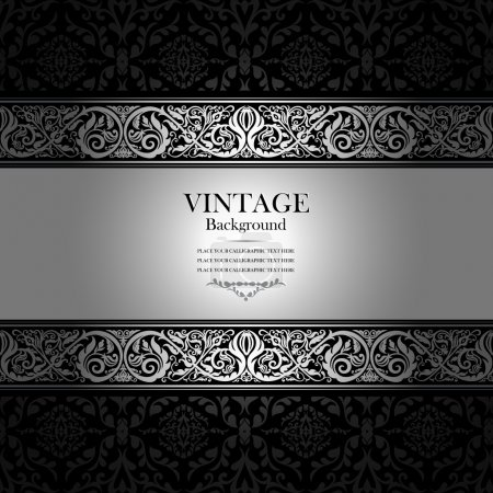 Photo for Vintage background, antique, victorian silver ornament - Royalty Free Image