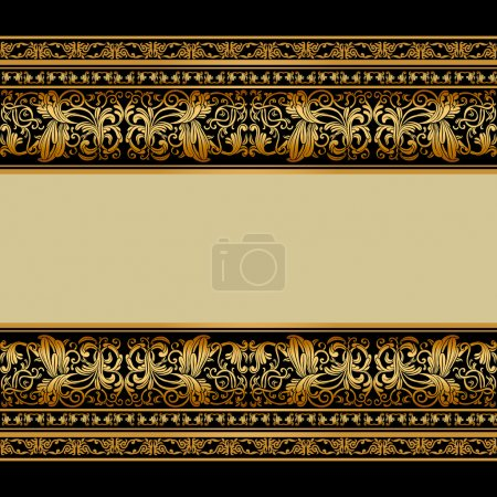 Illustration for Vintage background, elegant antique, victorian gold, floral ornament, baroque frame, beautiful invitation, classical old style card, ornate page cover, label, royal luxury, ornamental pattern design - Royalty Free Image