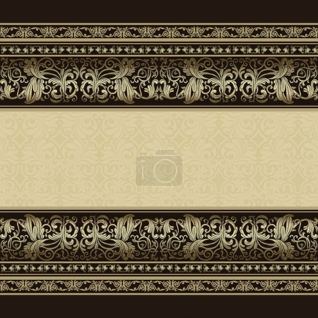 Illustration for Vintage background, elegance antique, victorian silver, floral ornament, baroque frame, beautiful invitation, classical old style card, ornate page cover, label, royal luxury, ornamental pattern design - Royalty Free Image