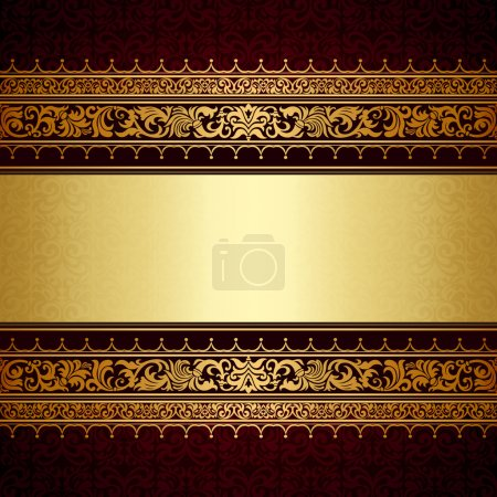 Illustration for Vintage background, antique, victorian gold ornament, baroque frame, beautiful old paper, royal card, ornate cover page, label, floral luxury ornamental pattern template for design - Royalty Free Image