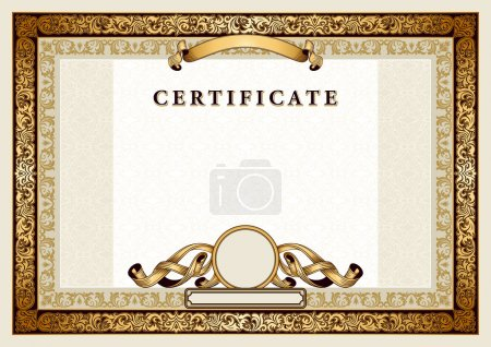 Vintage certificate with gold, luxury, ornamental frames